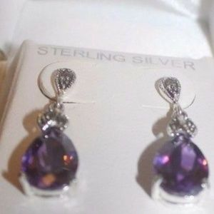 Jewelry - Sterling Silver Marcasite amethyst CS NEW $122